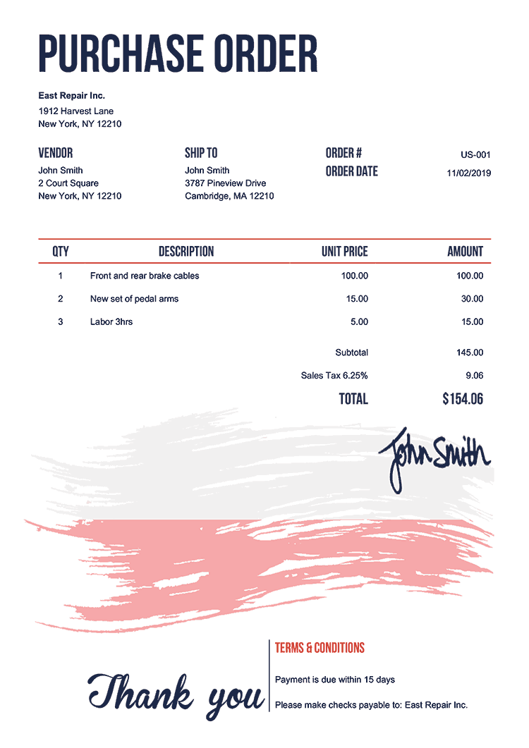 Purchase Order Template Us Flag Of Poland