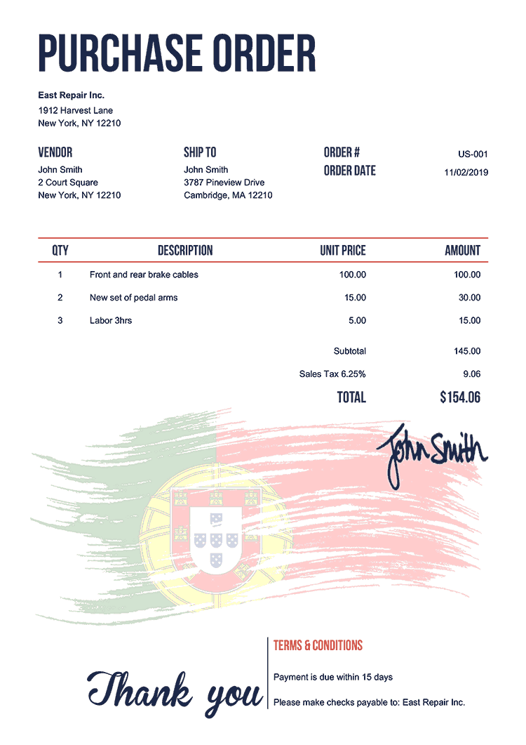 Purchase Order Template Us Flag Of Portugal