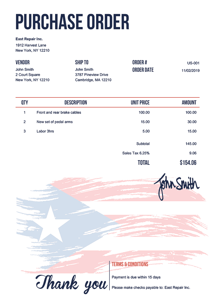 Purchase Order Template Us Flag Of Puerto Rico