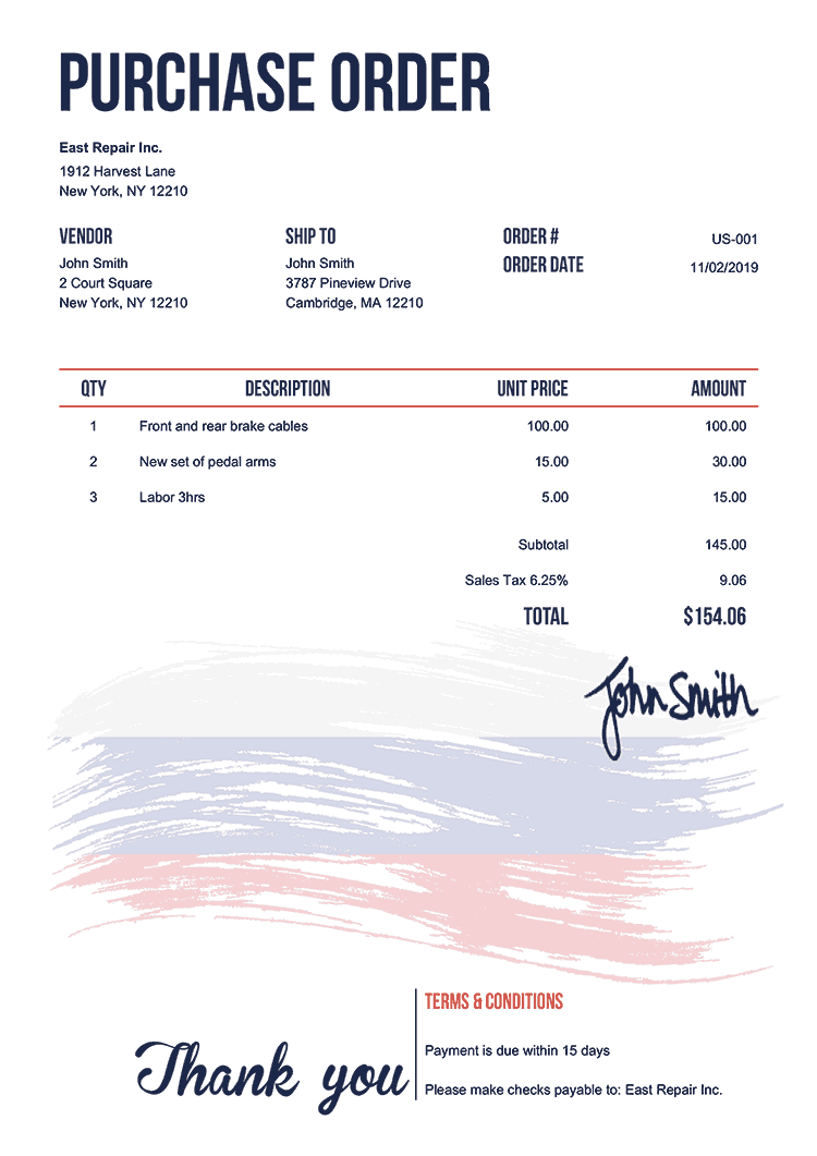 Purchase Order Template Us Flag Of Russia