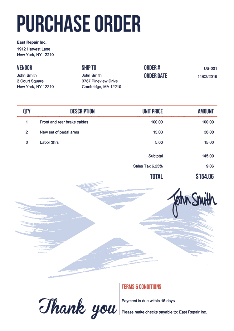 Purchase Order Template Us Flag Of Scotland