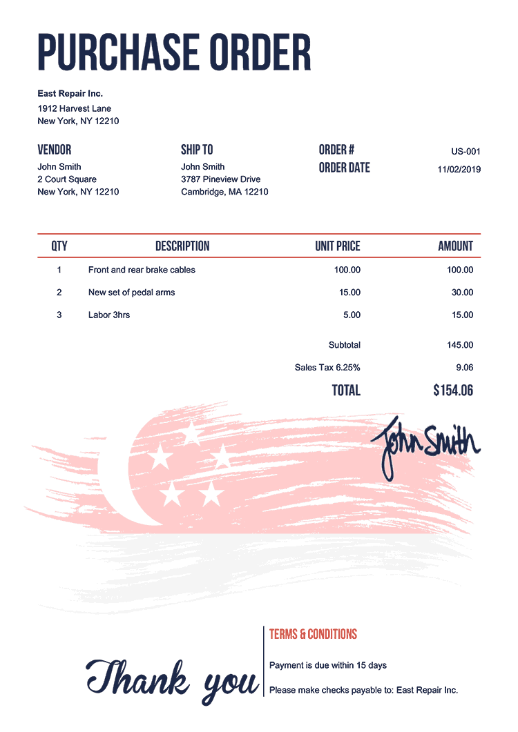 Purchase Order Template Us Flag Of Singapore
