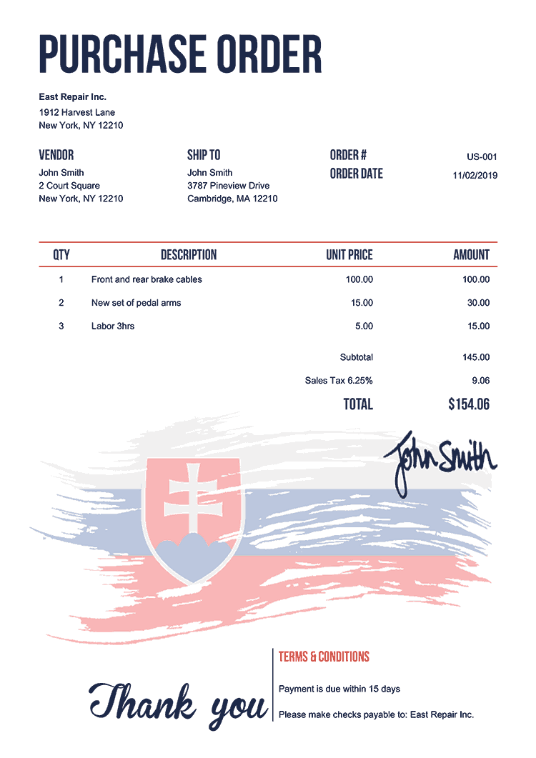 Purchase Order Template Us Flag Of Slovakia