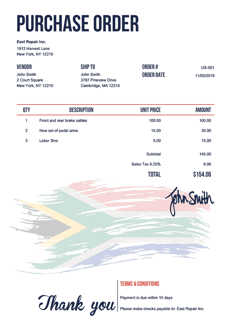 Purchase Order Template Us Flag Of South Africa