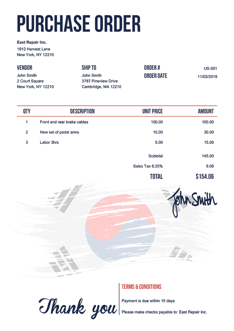 Purchase Order Template Us Flag Of South Korea