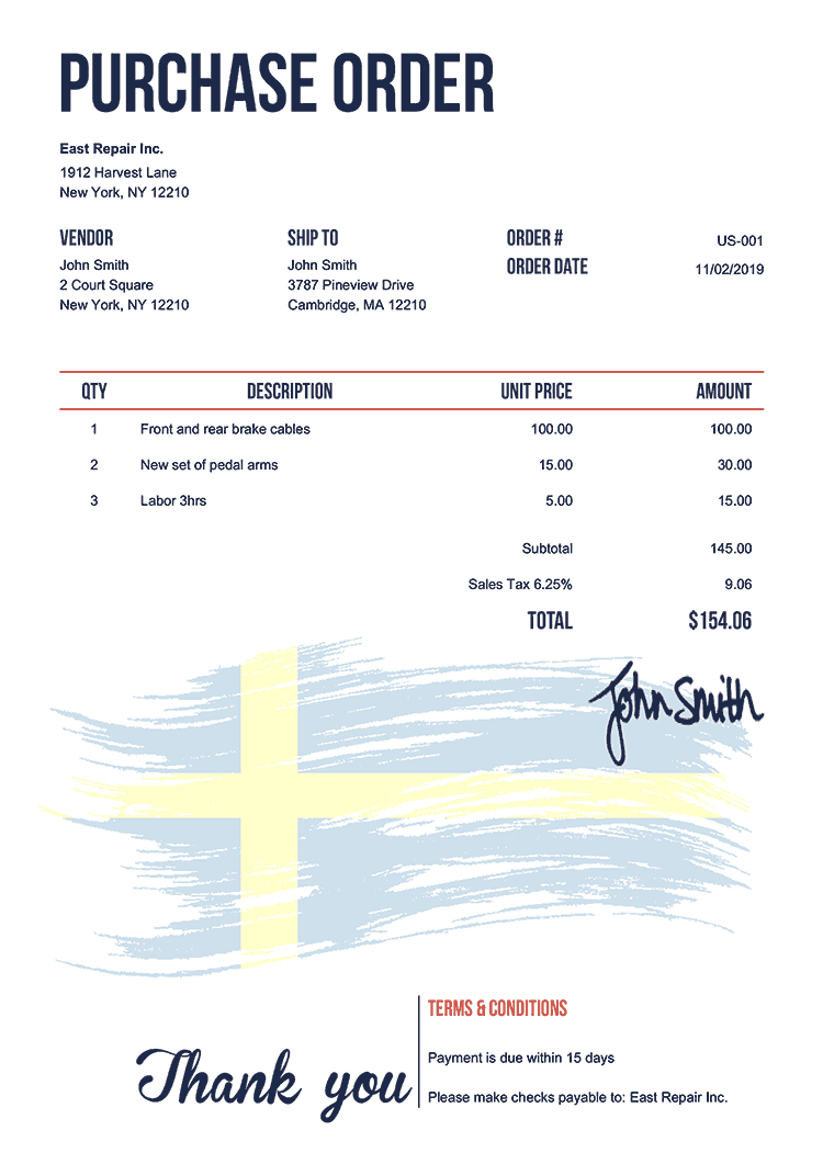 Purchase Order Template Us Flag Of Sweden
