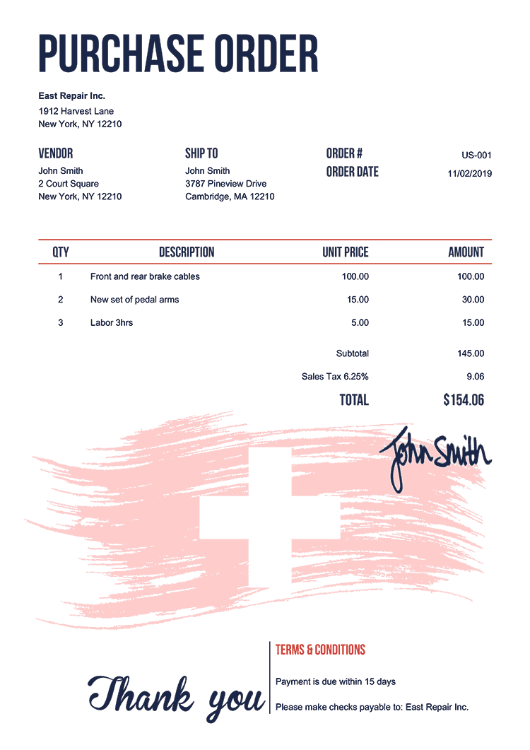 Purchase Order Template Us Flag Of Switzerland