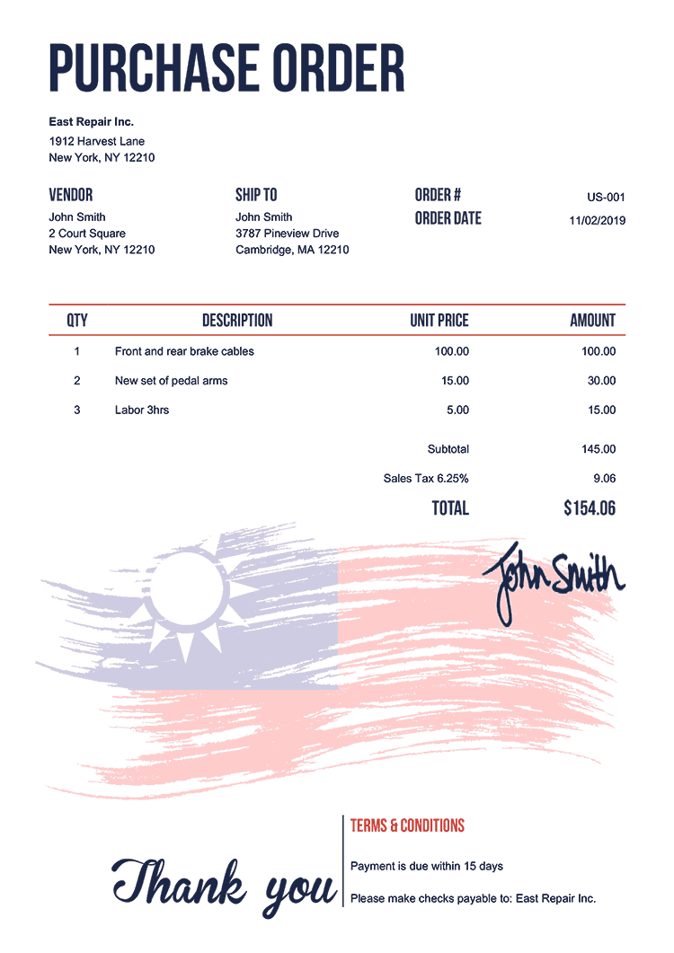 Purchase Order Template Us Flag Of Taiwan