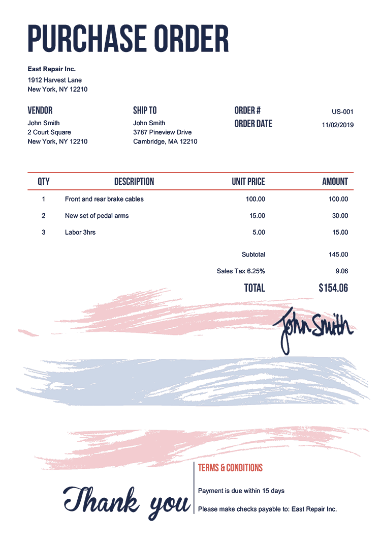 Purchase Order Template Us Flag Of Thailand