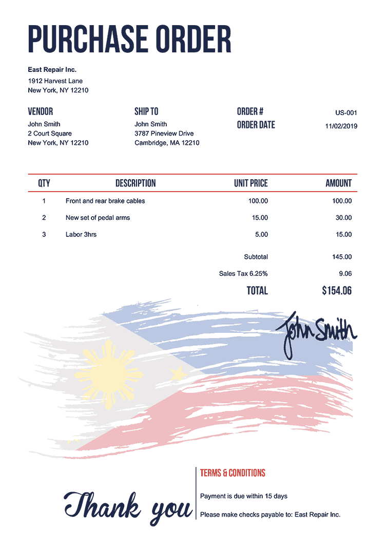 Purchase Order Template Us Flag Of The Philippines