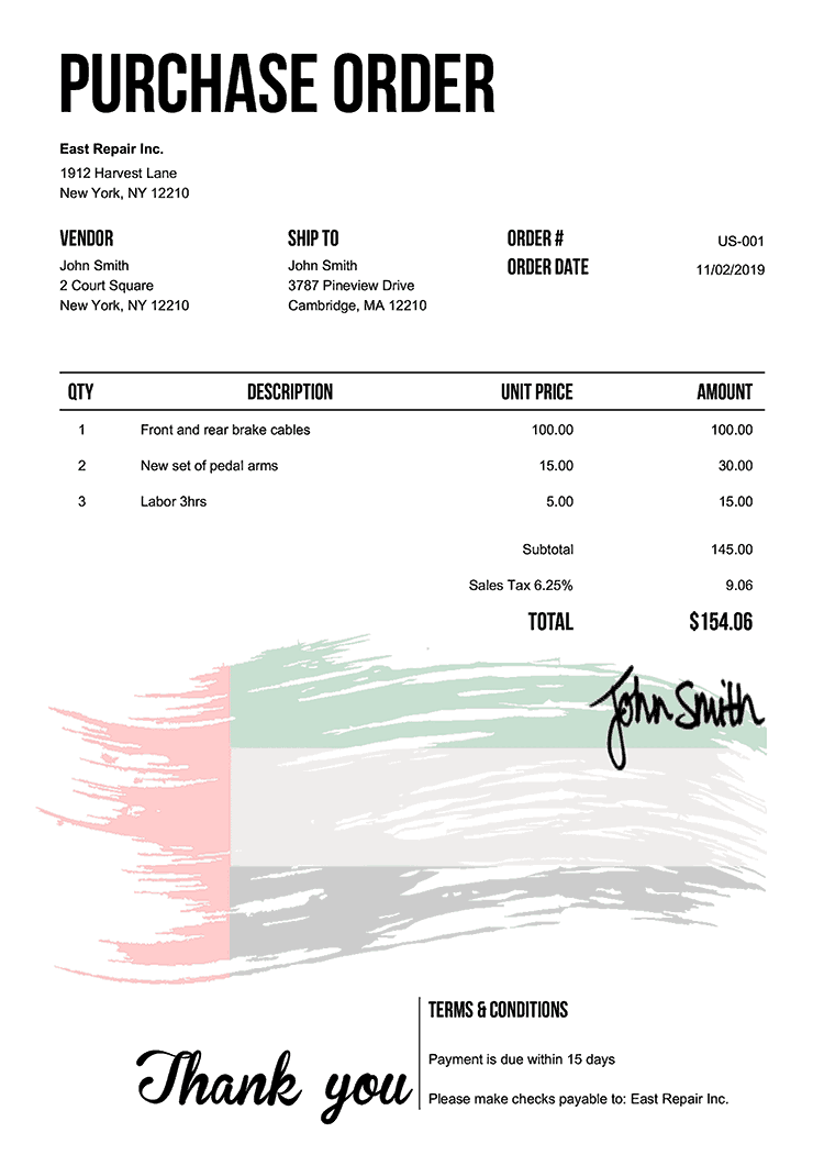 Purchase Order Template Us Flag Of The Uae