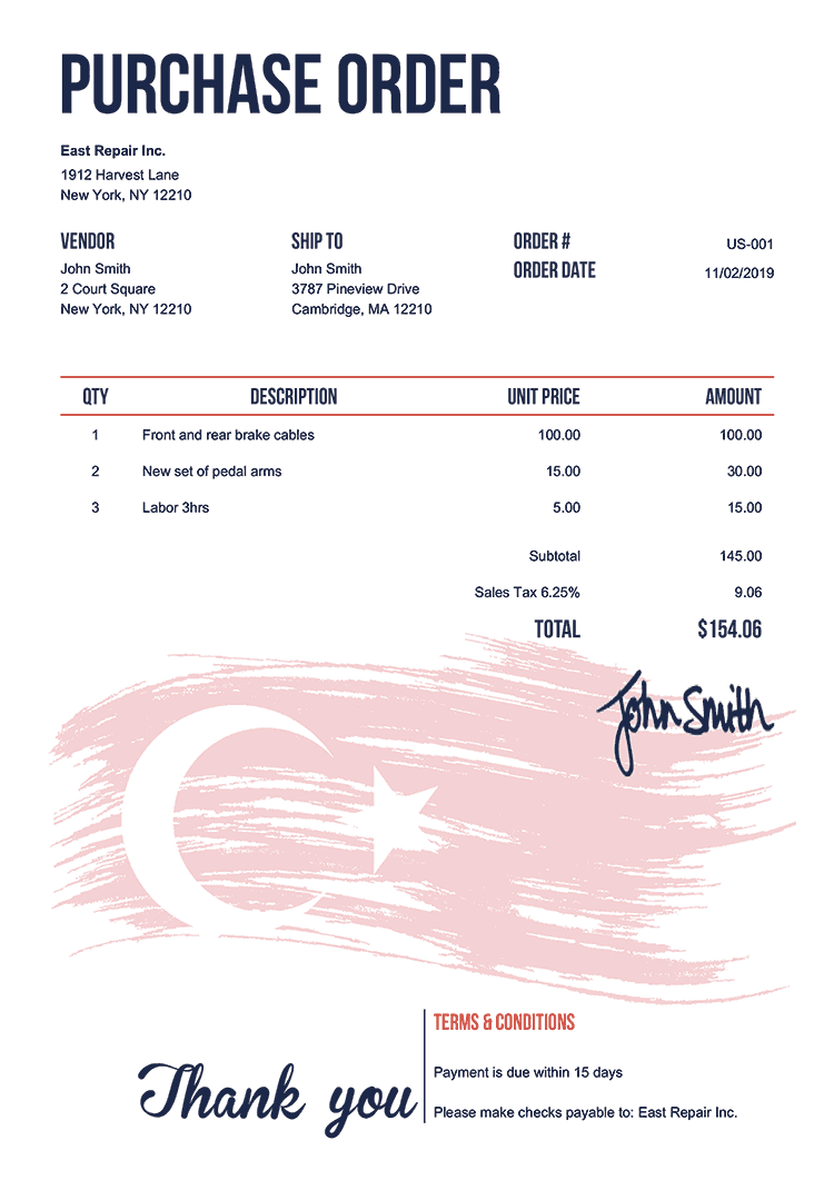 Purchase Order Template Us Flag Of Turkey