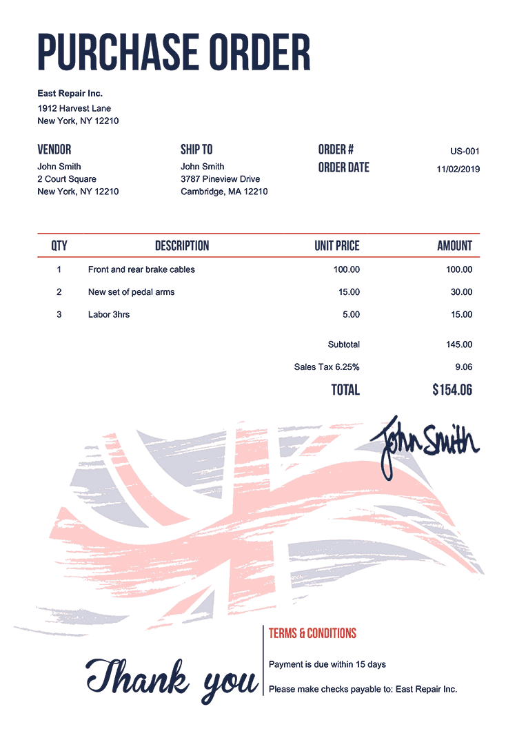 Purchase Order Template Us Flag Of United Kingdom