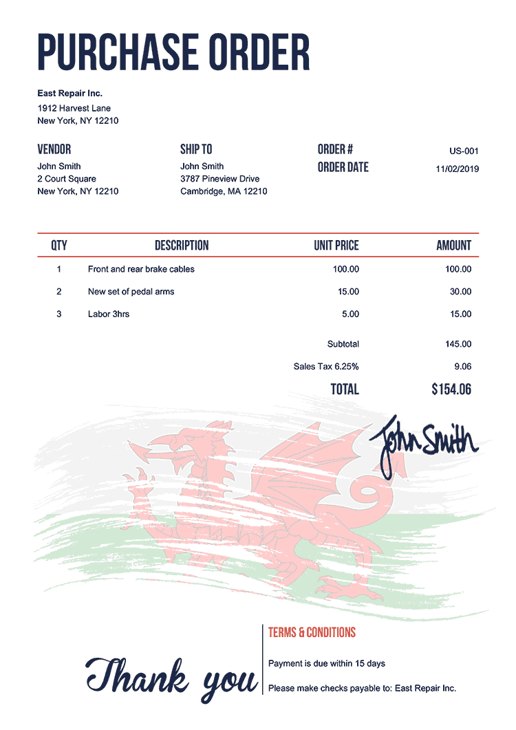Purchase Order Template Us Flag Of Wales
