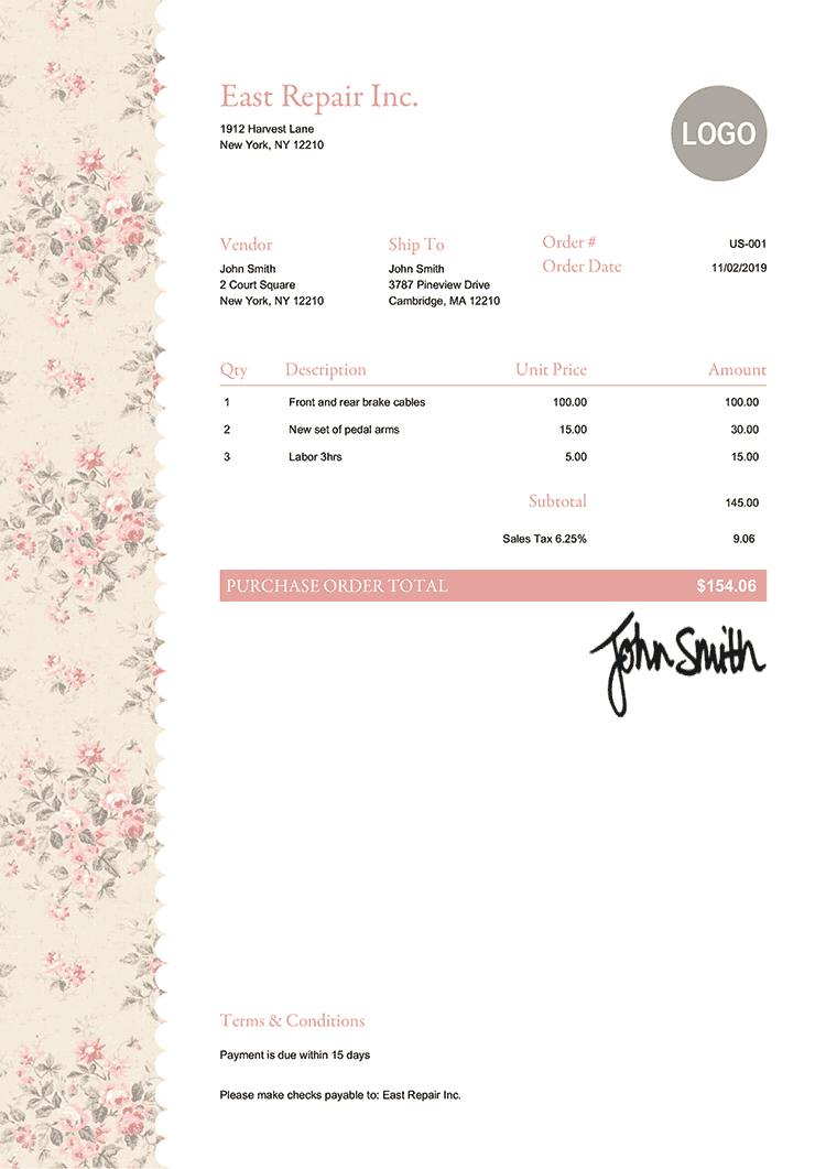 Purchase Order Template Us Flowers