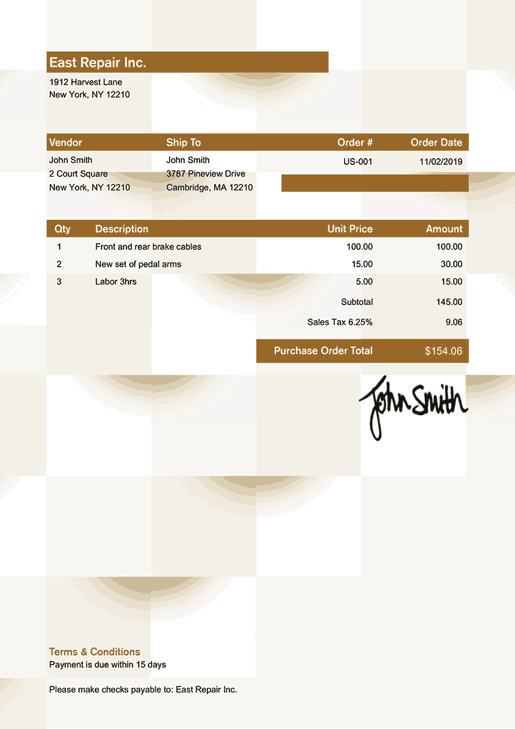 Purchase Order Template Us Geometric Bronze