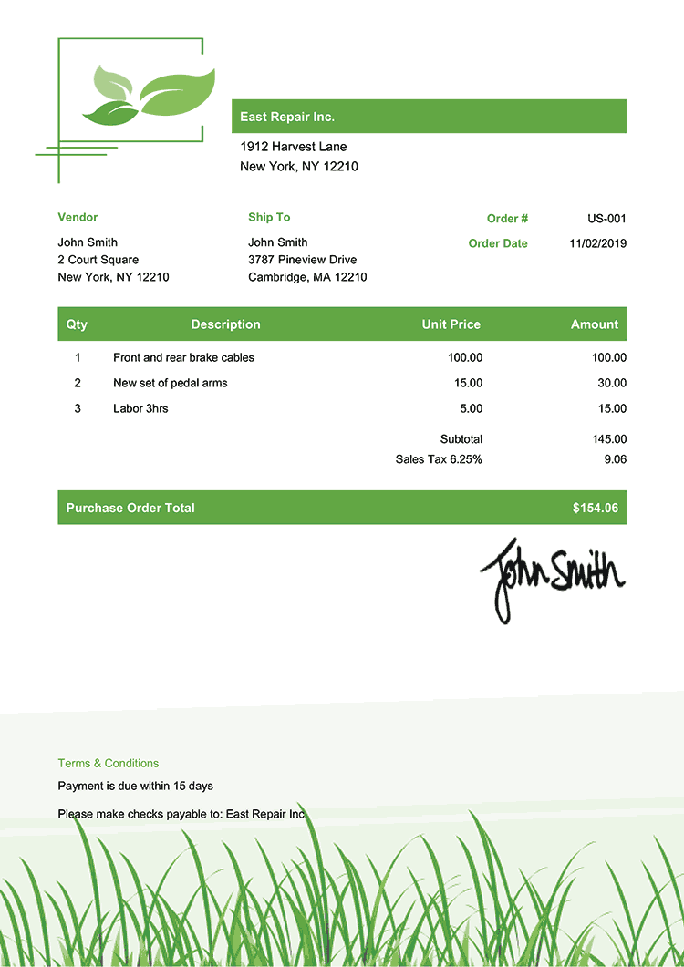Purchase Order Template Us Green Grass