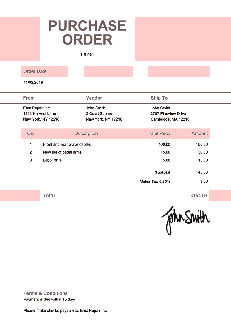 Purchase Order Template Us Impact Pink