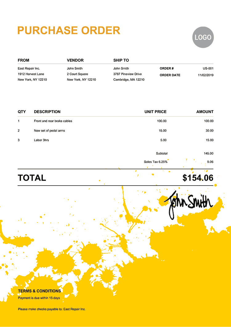 Purchase Order Template Us Ink Blot Yellow