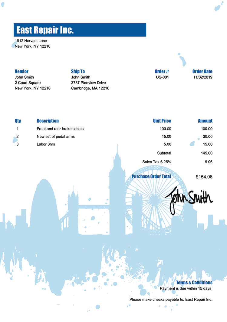 Purchase Order Template Us London