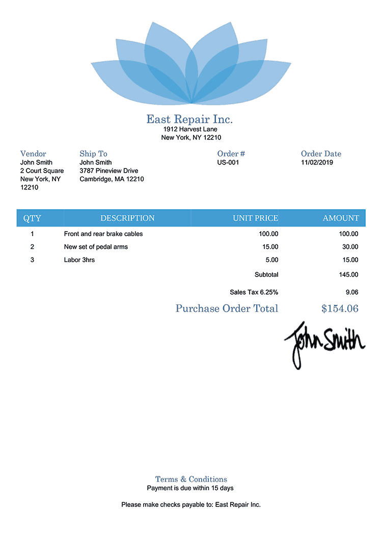Purchase Order Template Us Lotus Blue