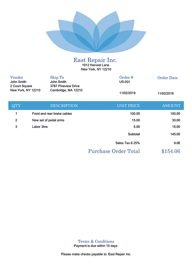 Purchase Order Template Us Lotus Blue No Logo