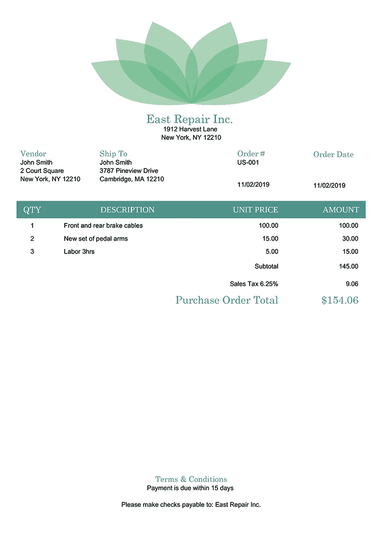 Purchase Order Template Us Lotus Green No Logo
