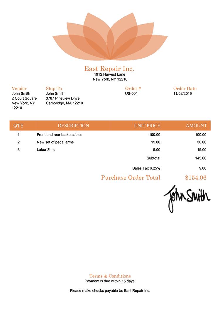 Purchase Order Template Us Lotus Orange