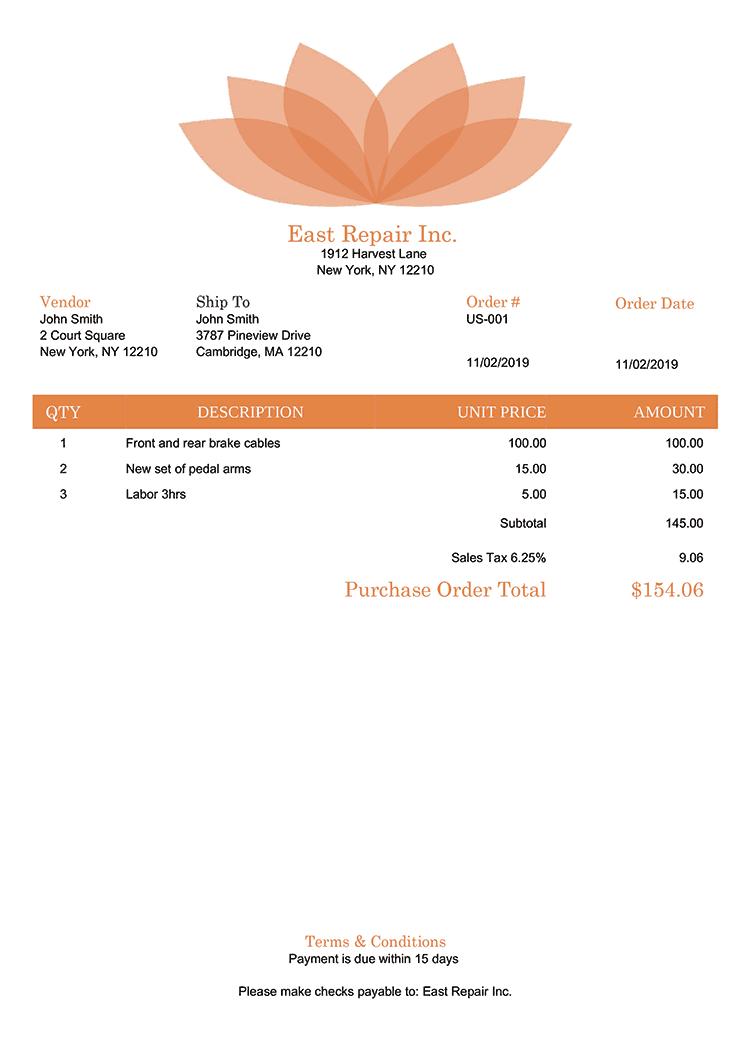 Purchase Order Template Us Lotus Orange No Logo