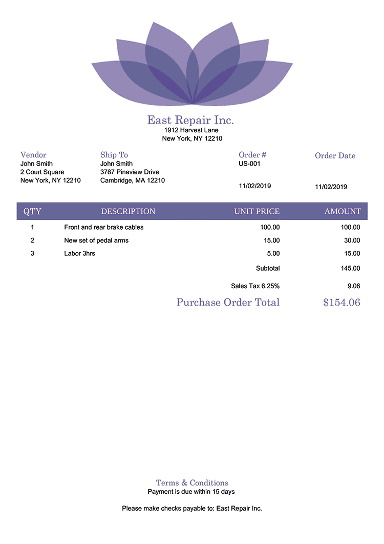 Purchase Order Template Us Lotus Purple No Logo