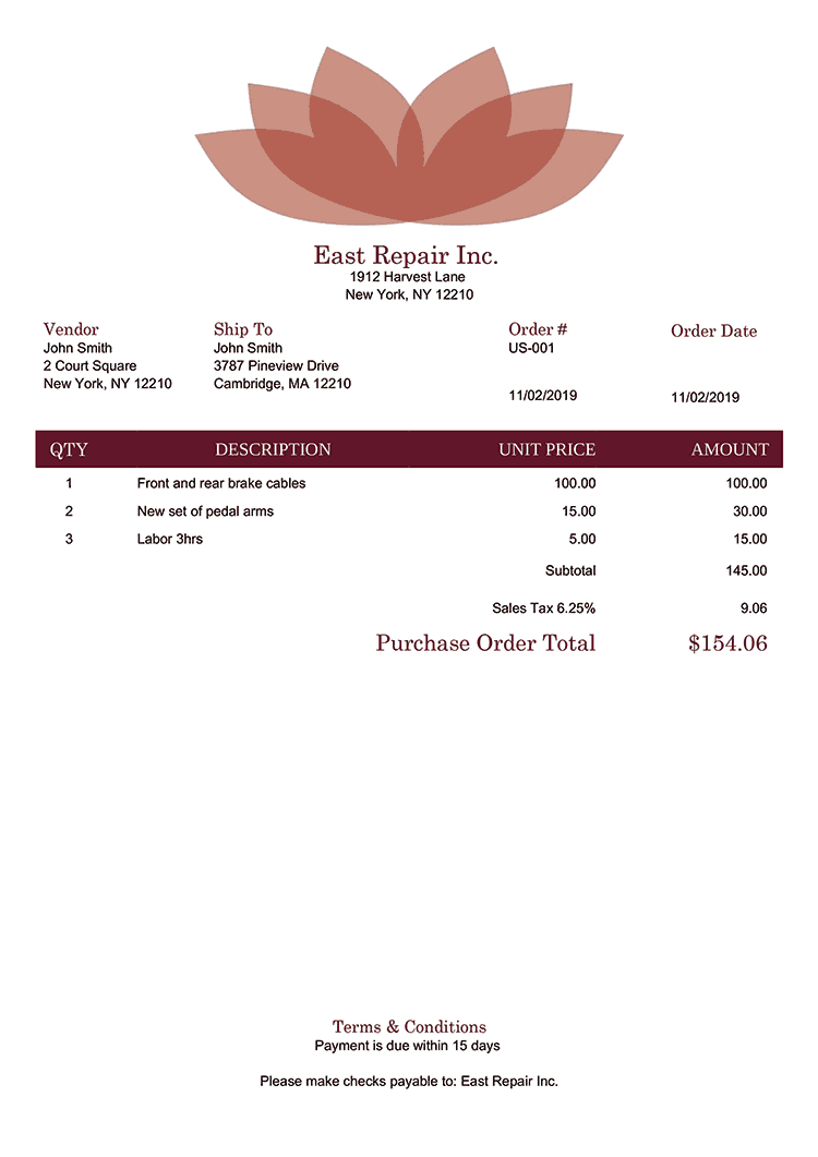 Purchase Order Template Us Lotus Red No Logo