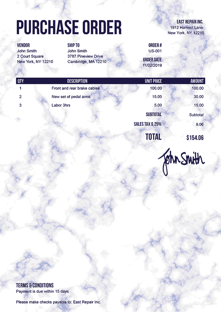 Purchase Order Template Us Marble Blue
