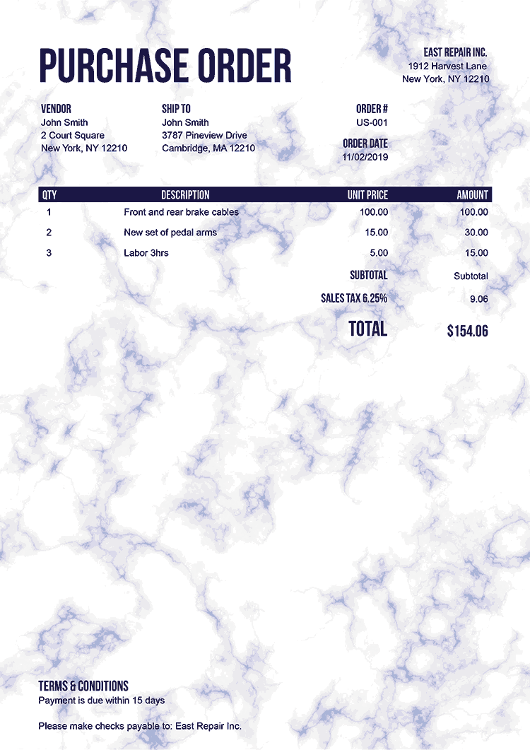 Purchase Order Template Us Marble Blue No Logo
