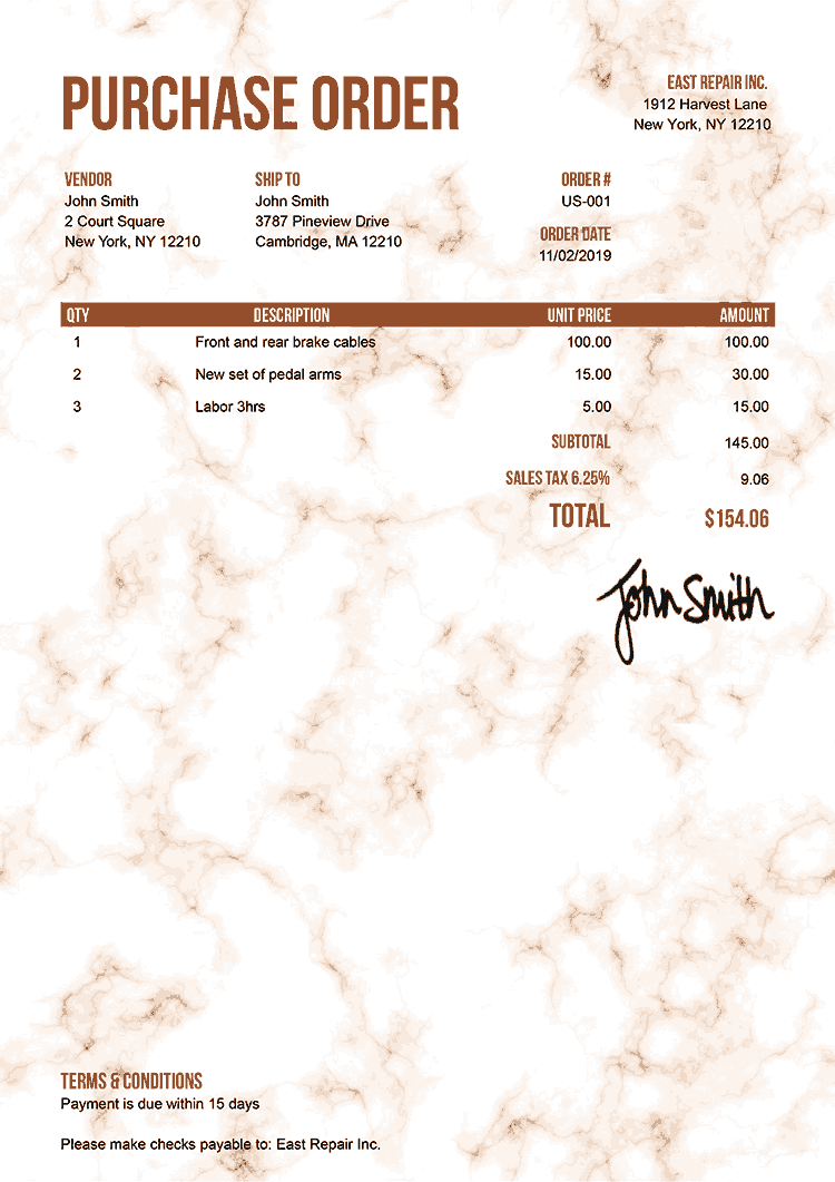 Purchase Order Template Us Marble Orange