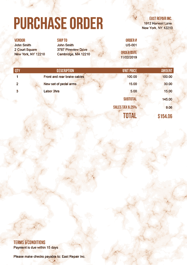 Purchase Order Template Us Marble Orange No Logo