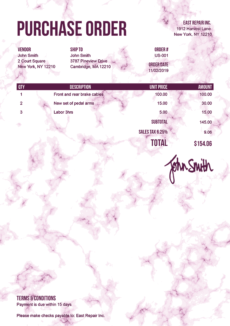 Purchase Order Template Us Marble Pink