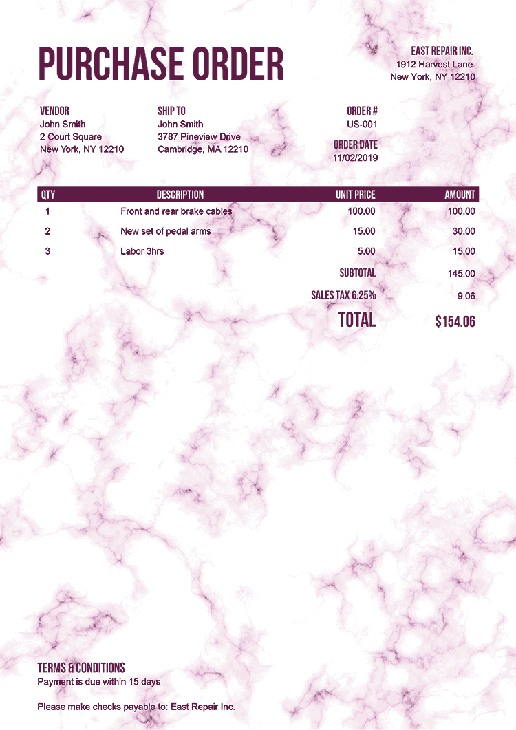 Purchase Order Template Us Marble Pink No Logo