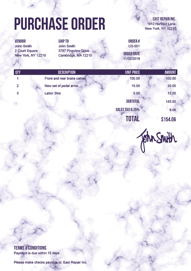 Purchase Order Template Us Marble Purple