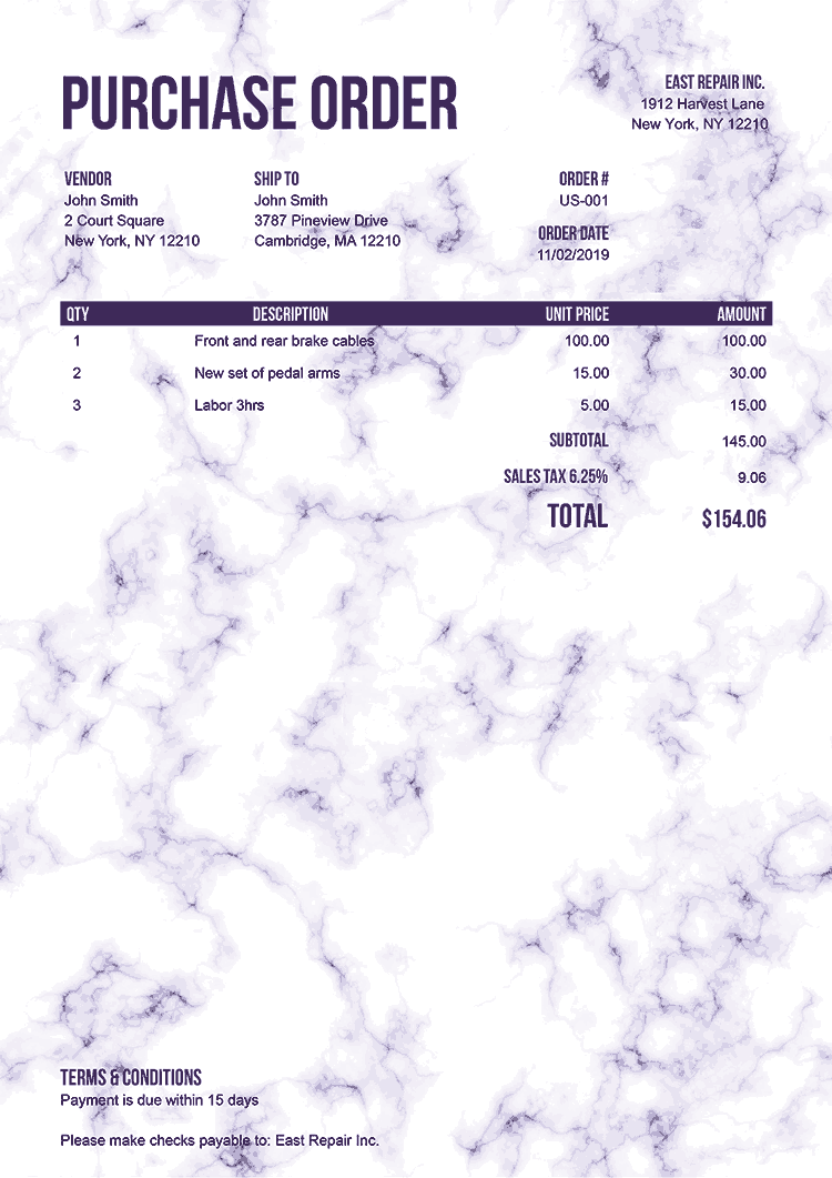 Purchase Order Template Us Marble Purple No Logo