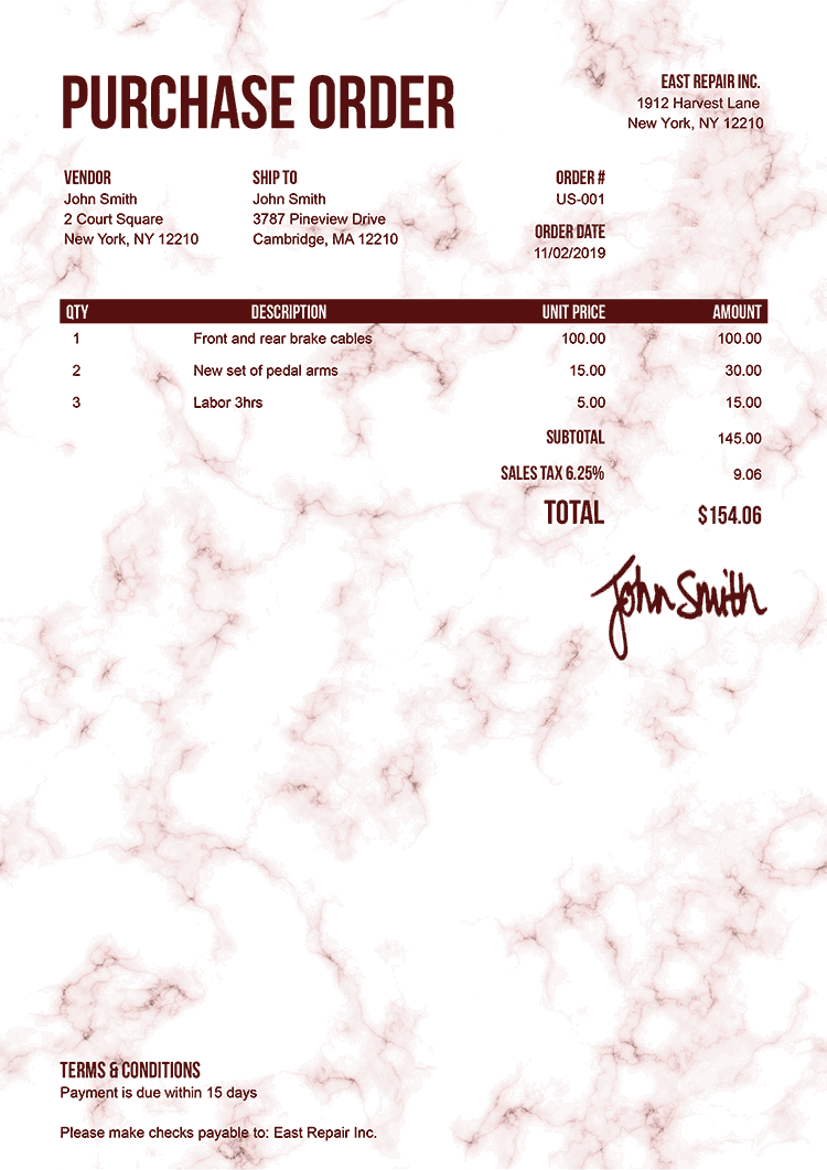 Purchase Order Template Us Marble Red