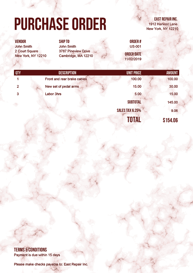 Purchase Order Template Us Marble Red No Logo