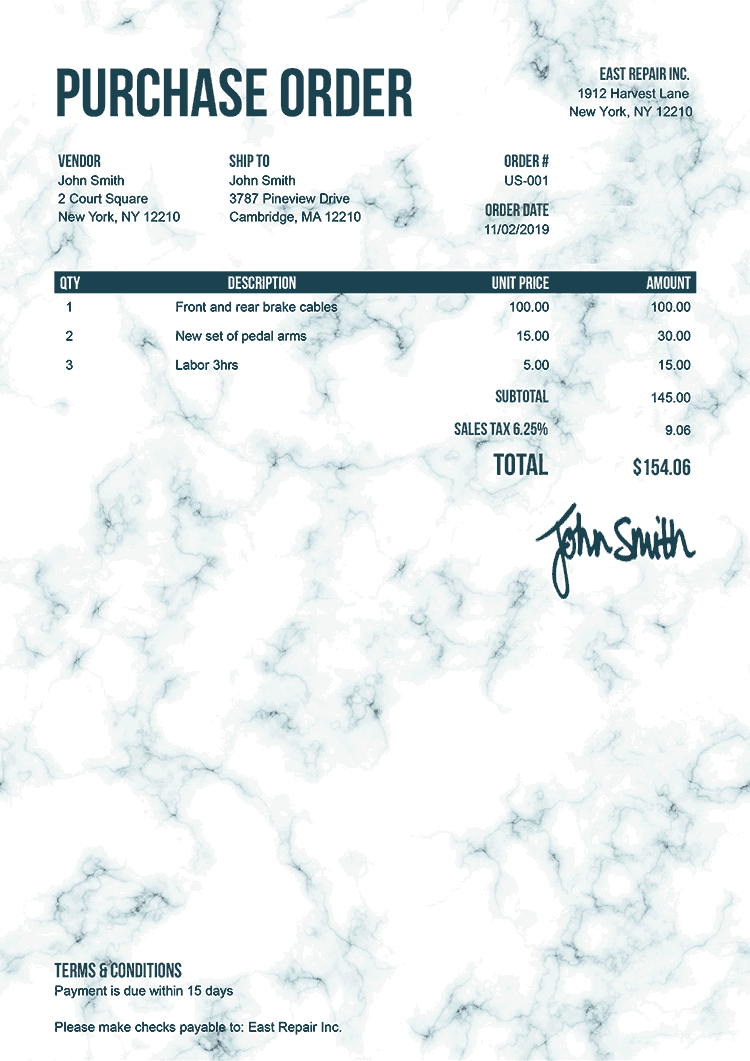 Purchase Order Template Us Marble Teal