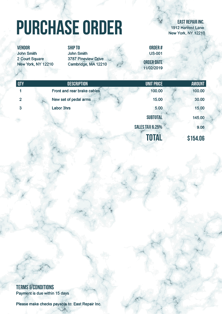 Purchase Order Template Us Marble Teal No Logo