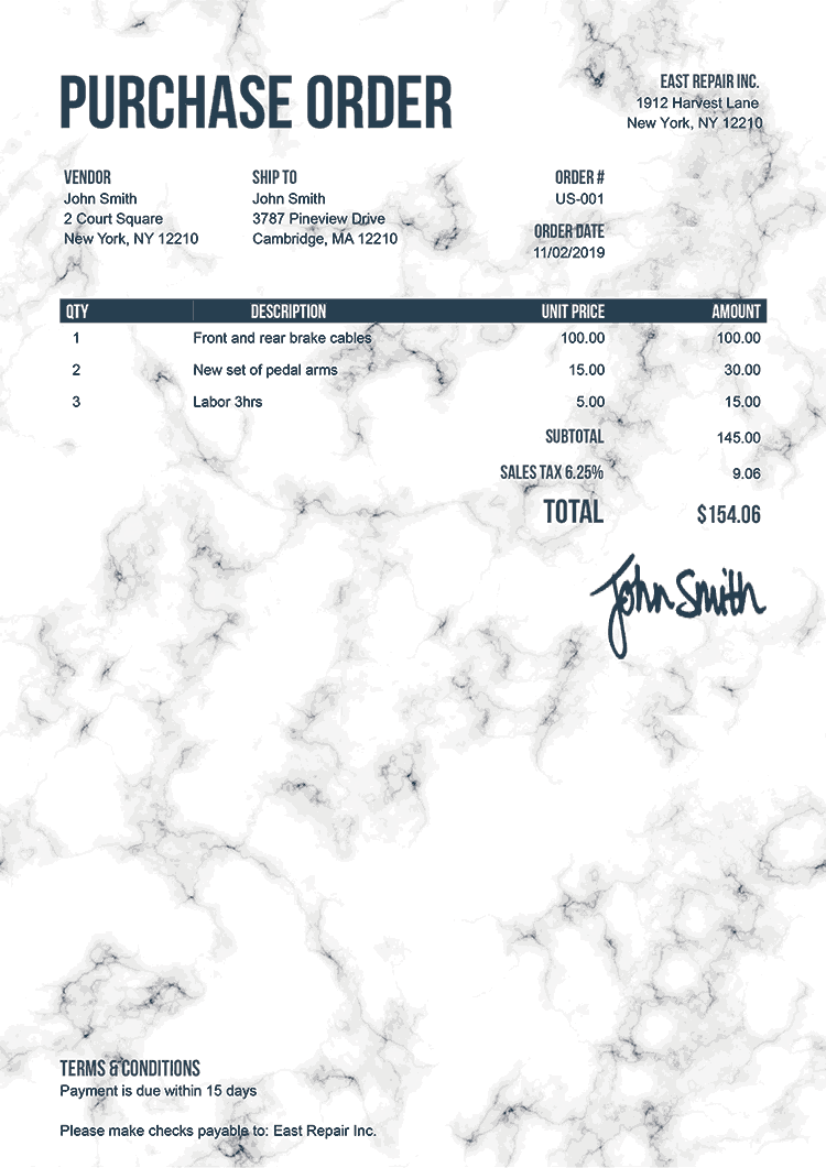 Purchase Order Template Us Marble White
