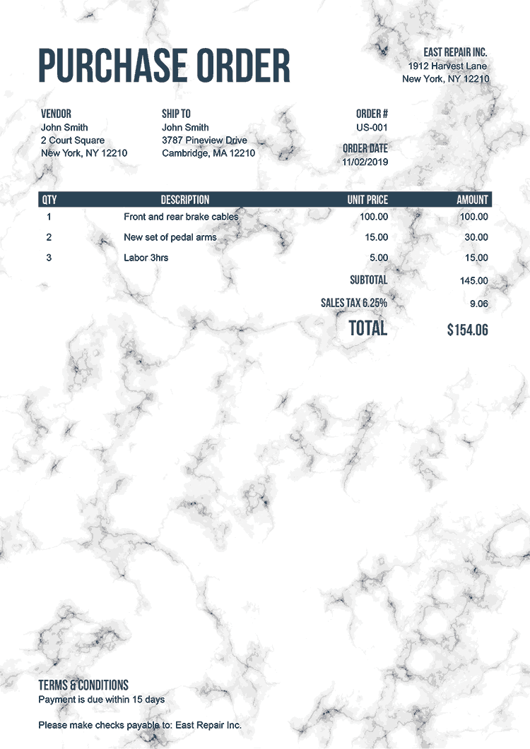 Purchase Order Template Us Marble White No Logo