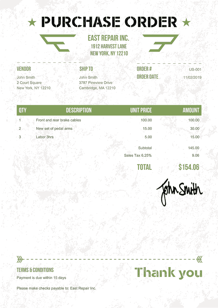 Purchase Order Template Us Military Green