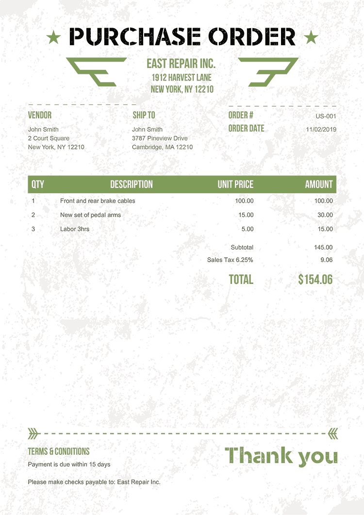 Purchase Order Template Us Military Green No Logo