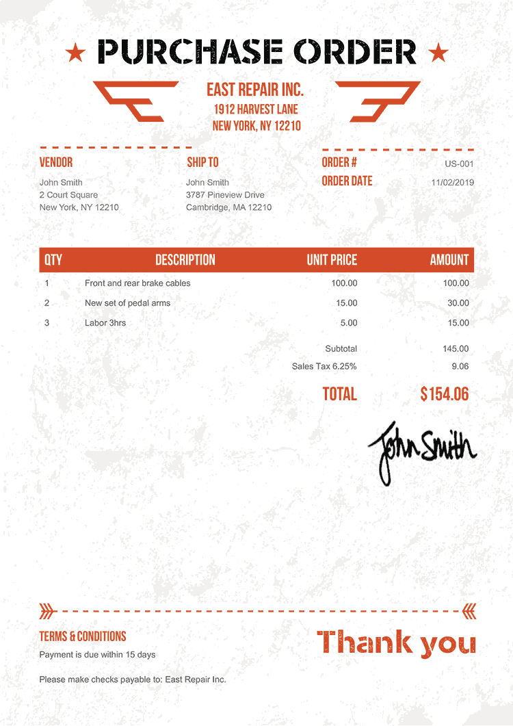 Purchase Order Template Us Military Orange