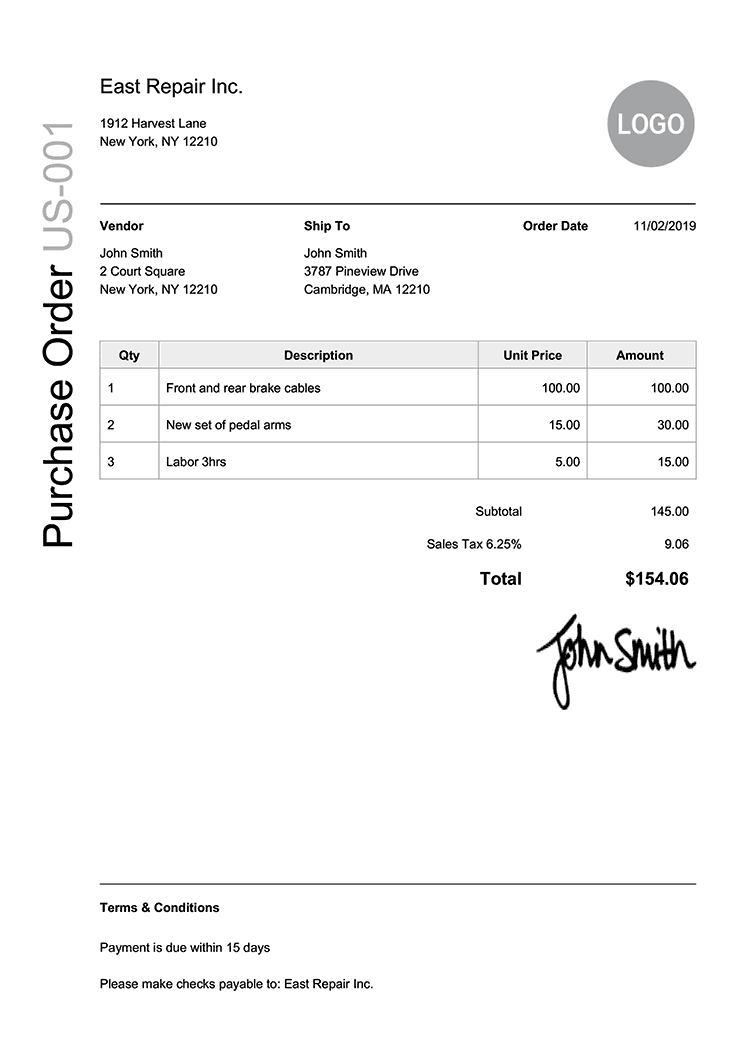 Purchase Order Template Us Modern Black
