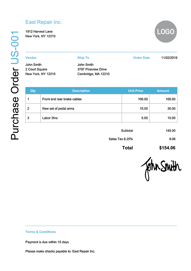 Purchase Order Template Us Modern Light Blue